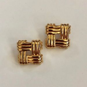 Vintage 80's gold metallic earrings